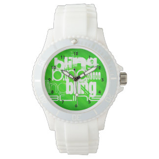 Bling; Neon Green Stripes Wrist Watches