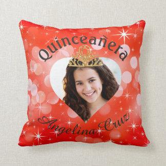 Bling Quinceanera Photo Heart Cutout Keepsake Cushion
