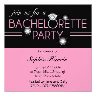 Bling Ring Pink Bachelorette Party 2 Invite