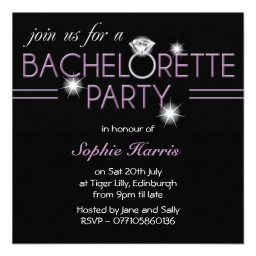 Bling Ring Purple Bachelorette Party Custom Announcement