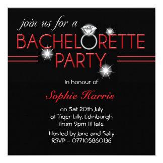 Bling Ring Red Bachelorette Party Custom Invitation