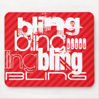 Bling; Scarlet Red Stripes Mouse Pad