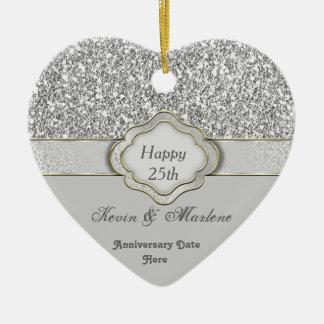 BLING Silver CUSTOM 25th ANNIVERSARY GIFT ORNAMENT