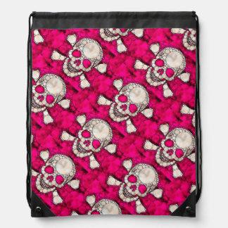 Bling Skull and Bones Drawstring Backpack
