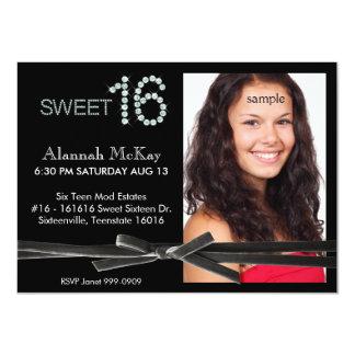 Bling Velvet Ribbon Tie Photo Sweet 16 Birthday 4.5x6.25 Paper Invitation Card