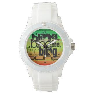Bling; Vibrant Green, Orange, & Yellow Wrist Watches