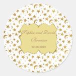 Bling Wedding Golden Ribbon Wedding Custom Round Sticker