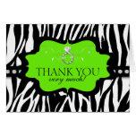 Blingin Zebra Bachelorette Thank You Lime Note Card