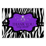 Blingin Zebra Bachelorette Thank You Note Card
