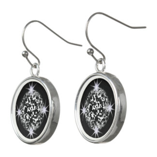 Blinking Mosaic Silver Star Earrings