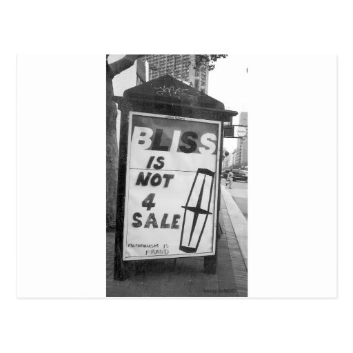 Bliss is Not for Sale Altered Sign Public Art Postcard