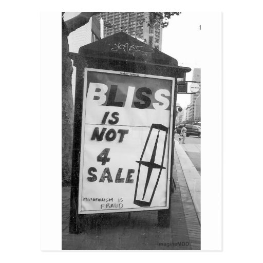 Bliss is Not for Sale Altered Sign Public Art Post Card