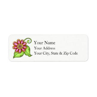 Bliss Watercolor Doodle Flower Address Label