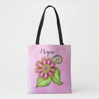 Bliss Watercolor Doodle Flower Bag