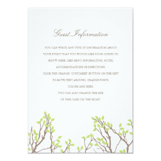 "Blissful Branches Directions/Information Card 4.5"" X 6.25"" Invitation Card"
