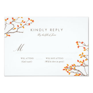 Blissful Branches Wedding RSVP 9 Cm X 13 Cm Invitation Card