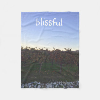 Blissful Motivational Quote Winery Photograph Fleece Blanket