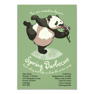 Blissful Panda Smelling Blossom Flowers With Text Card