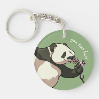 Blissful Panda Smelling Blossom Flowers With Text Key Ring