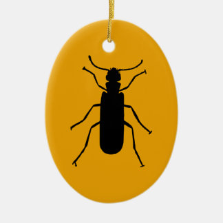 Blister Beetle Silhouette Ceramic Ornament