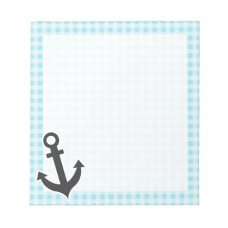 Blizzard Blue Gingham Anchor Scratch Pad
