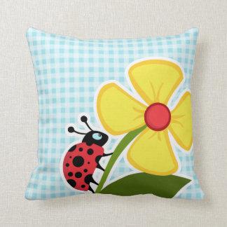 Blizzard Blue Gingham; Ladybug Cushion
