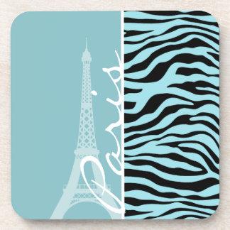Blizzard Blue Zebra Animal Print Paris Beverage Coasters