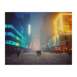 Blizzard In Times Square Wood Prints
