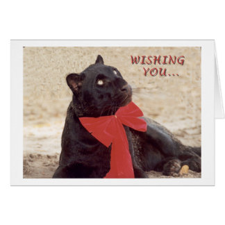 Blk Leopard holiday bow Greeting Card