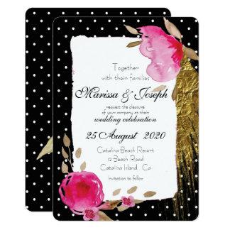Blk White Polkadot Pink Floral Wedding Invitation