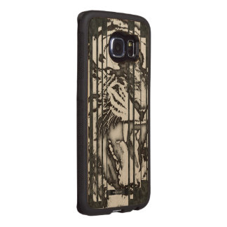 Blk&Wht Tiger Abstract Wood Phone Case