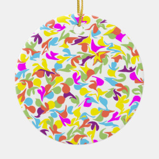 Blobs of Color on White Circle-Shaped Ornament