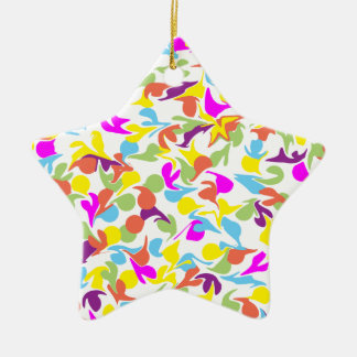 Blobs of Color on White Star-Shaped Ornament