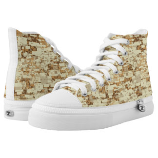 Block desert camouflage printed shoes