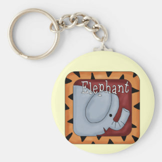 Block Elephant T-shirts and Gifts Basic Round Button Key Ring