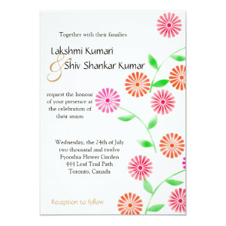Block Flowers Wedding Invitation Card 5x7