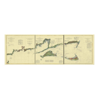 Block Island, Buzzard Bay, Nantucket and Martha's Poster