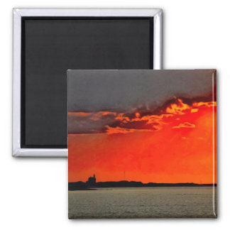 Block Island North Lighthouse at Sunset Painting Magnet