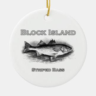 Block Island Vintage Striped Bass Logo Ceramic Ornament