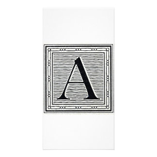 "Block Letter ""A"" Woodcut Woodblock Initial Personalized Photo Card"