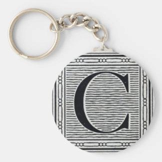 "Block Letter ""C"" Woodcut Woodblock Inital Basic Round Button Key Ring"