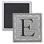 """Block Letter """"E"""" Woodcut Woodblock Inital"""