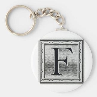 "Block Letter ""F"" Woodcut Woodblock Inital Basic Round Button Key Ring"