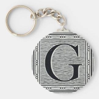 "Block Letter ""G"" Woodcut Woodblock Inital Basic Round Button Key Ring"