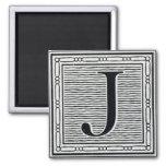 """Block Letter """"J"""" Woodcut Woodblock Inital"""
