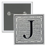 "Block Letter ""J"" Woodcut Woodblock Inital Buttons"