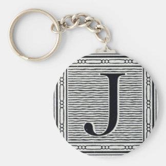 "Block Letter ""J"" Woodcut Woodblock Inital Basic Round Button Key Ring"