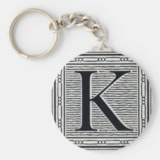 "Block Letter ""K"" Woodcut Woodblock Inital Basic Round Button Key Ring"