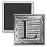 """Block Letter """"L"""" Woodcut Woodblock Inital"""
