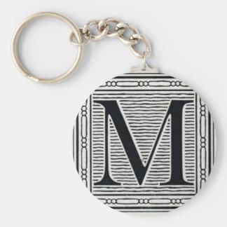 "Block Letter ""M"" Woodcut Woodblock Inital Basic Round Button Key Ring"